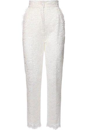 Dolce & Gabbana High Waist Lace Sheer Straight Leg Pants