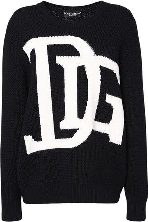 Dolce & Gabbana Over Logo Intarsia Knit Wool Sweater