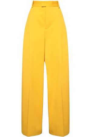 Bottega Veneta High Waist Wool Gabardine Wide Leg Pants