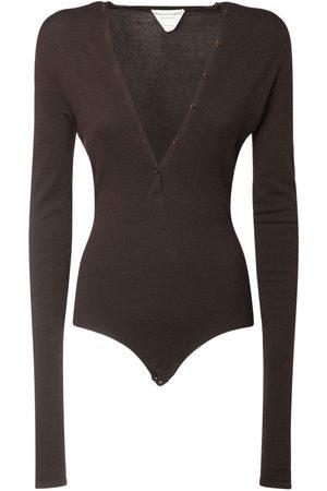 Bottega Veneta V Neck Cashmere Knit Bodysuit