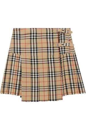 Burberry Zoe Wool Printed Check Mini Kilt Skirt