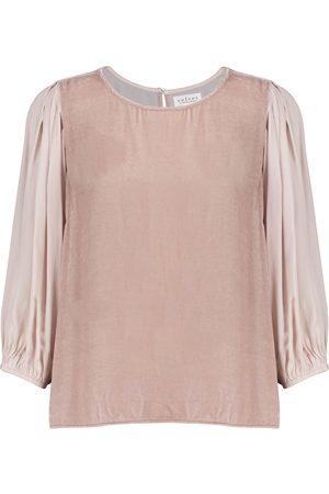 Velvet Elise and silk blouse