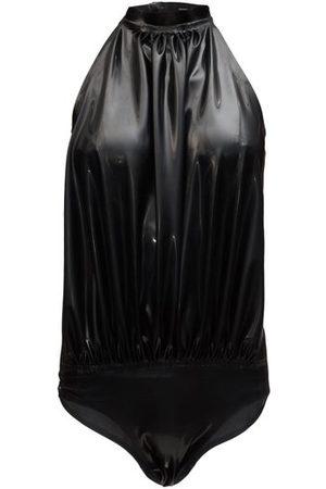 Saint Laurent Halterneck Backless Vinyl Bodysuit - Womens