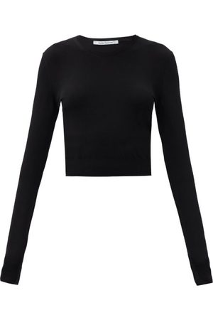 Another Tomorrow Women Crop Tops - Long-sleeved Knitted Cropped Top - Womens