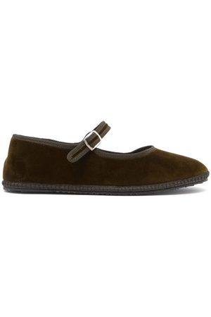 VIBI VENEZIA Women Flat Shoes - Whipstitched Velvet Mary Jane Flats - Womens - Dark