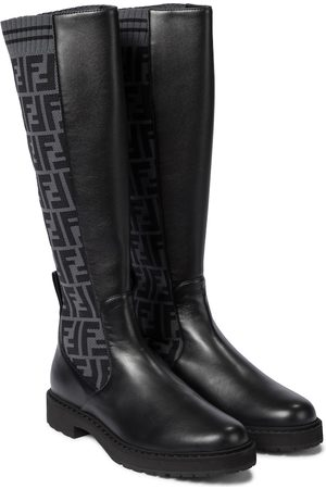 Fendi FF knee-high leather boots
