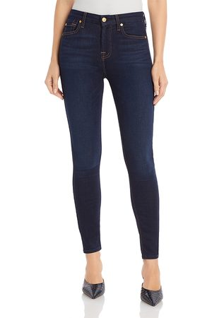7 for all Mankind Slim Illusion Luxe High-Waist Ankle Skinny Jeans in Tried & True