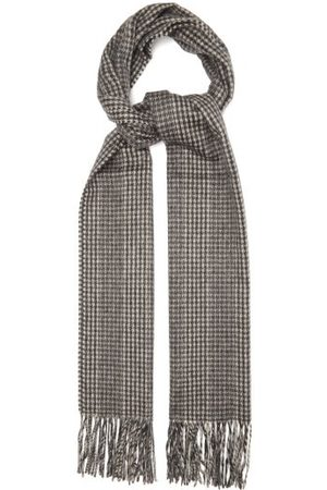 Saint Laurent Houndstooth-jacquard Fringed Cashmere Scarf - Womens