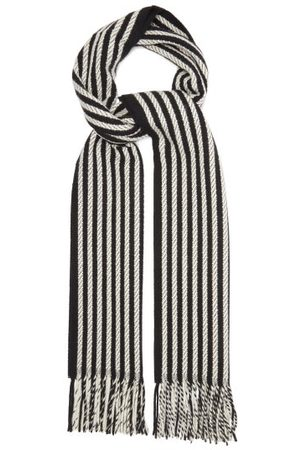 Saint Laurent Stripe-jacquard Fringed Cashmere Scarf - Womens