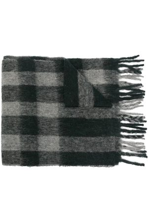 MULBERRY Logo embroidered check scarf