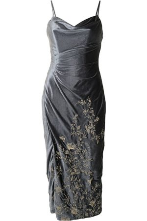 Marchesa Notte Embroidered-floral velvet dress
