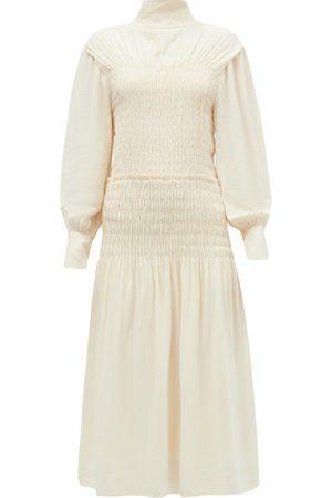 Proenza Schouler Cutout-back Shirred Crepe Midi Dress - Womens - Ivory