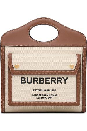 Burberry Mini Logo Canvas & Leather Tote