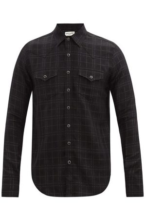 Saint Laurent Metallic-check Wool-blend Shirt - Mens