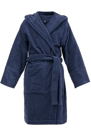 Tekla Men Bathrobes - Hooded Organic-cotton Terry Bathrobe - Mens - Navy