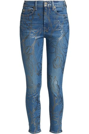 7 for all Mankind Women's Foil Print High-Rise Ankle Skinny Jeans - - Size 29 (6-8)