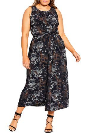 City Chic Plus Size Women's Linear Sleeveless Faux Wrap Dress
