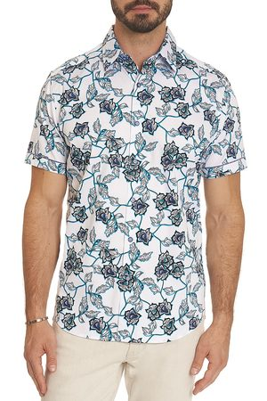 Robert Graham Men's Westover Floral-Print Short-Sleeve Shirt - - Size Medium