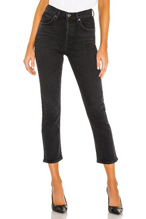 AGOLDE Riley High Rise Straight Crop in Black.