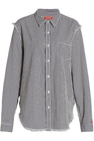 Denimist Women's Frayed Edge Striped Shirt - - Size XS
