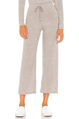Donni. Sweater Cropped Flare Sweatpant in Grey.