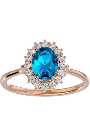 SuperJeweler 1 3/4 Carat Oval Shape Blue Topaz & Halo 16 Diamond Ring in 14K (3.40 g)