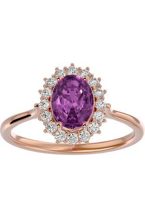 SuperJeweler 1 3/4 Carat Oval Shape Pink Topaz & Halo 16 Diamond Ring in 14K (3.40 g)