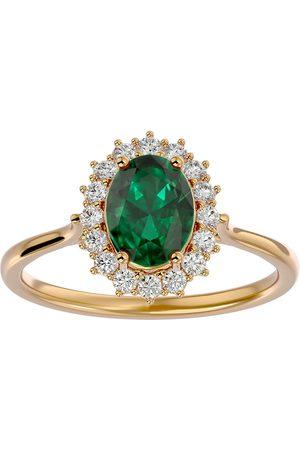 SuperJeweler 1.40 Carat Oval Shape Emerald Cut & Halo 16 Diamond Ring in 14K (3.40 g)