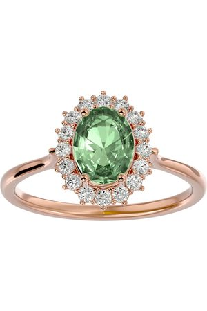 SuperJeweler 1 1/3 Carat Oval Shape Green Amethyst & Halo 16 Diamond Ring in 14K (3.40 g)
