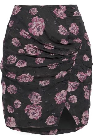 IRO Woman Bootab Ruched Floral-print Fil Coupé Chiffon Mini Skirt Forest Size 34