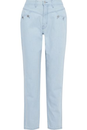 J Brand Woman + Elsa Hosk Playday Button-detailed High-rise Straight-leg Jeans Light Size 24