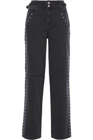 Current/Elliott Woman Debbie Studded High-rise Straight-leg Jeans Size 24
