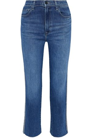 J Brand Woman Jules Crystal-embellished High-rise Straight-leg Jeans Mid Denim Size 24