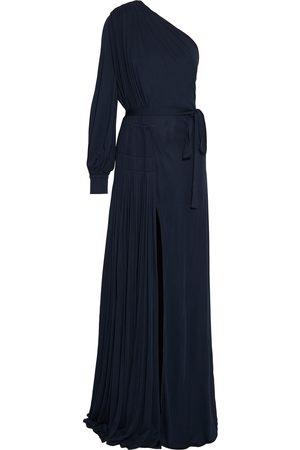 Oscar de la Renta Women Casual Dresses - Woman One-shoulder Belted Pleated Jersey Gown Navy Size 4