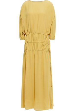 Rodebjer Woman Amane Crepe De Chine Midi Dress Mustard Size L