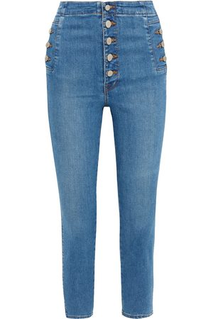 J Brand Woman Natasha Cropped High-rise Skinny Jeans Mid Denim Size 28