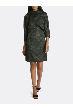 Tahari ASL Women Printed Dresses - Jacquard Wrap Collar Jacket Dress Skirt Suit Spruce Floral Jacquard Size: 10