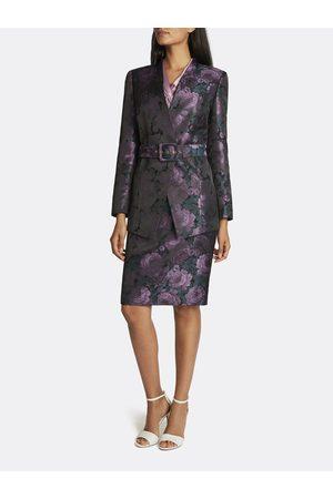 Tahari ASL Jacquard Collarless Skirt Suit Mauve Teal Floral Jacquard Size: 10