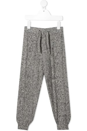 The New Society Boys Sports Pants - Liam cable knit tracksuit bottoms - Grey