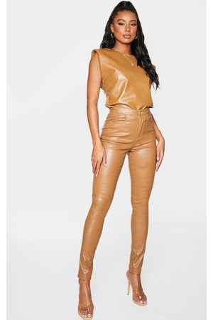 PRETTYLITTLETHING Camel Button Up Faux Leather Skinny Pants