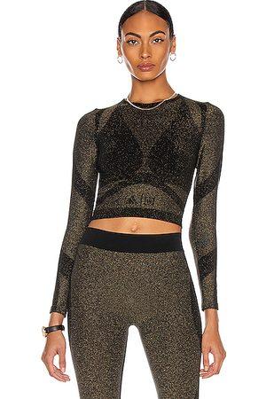 Wolford Women Crop Tops - X Adidas Studio Motion Long Sleeve Crop Top in Metallic