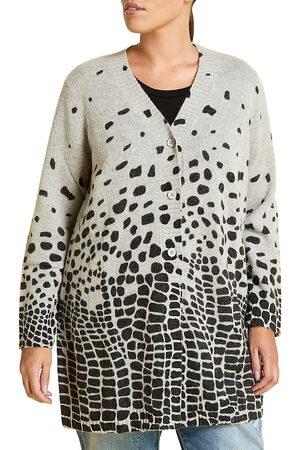 Persona by Marina Rinaldi Women's Marina Sport Maestria Leopard Wool & Alpaca-Blend Cardigan - - Size XL