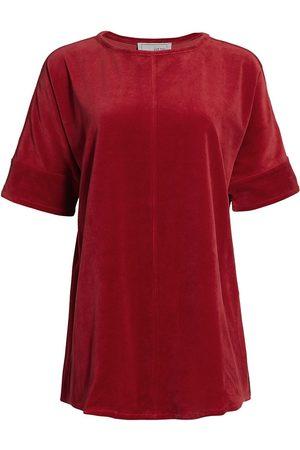 Joan Vass Women's Velour Short-Sleeve Tunic - - Size 2 (12-14)