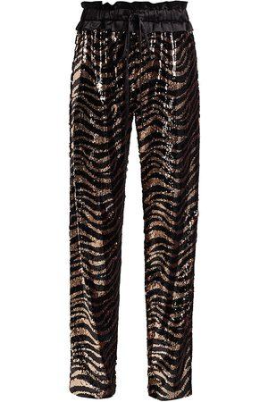 Adriana Iglesias Women's Aila Tiger-Stripe Sequin Pants - - Size 36 (4)