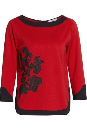 Joan Vass Women's Colorblock Embroidered Zip-Back Top - - Size 2 (12-14)