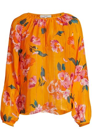 Joie Women's Kriston Floral Ruffle-Trim Silk Top - - Size XS