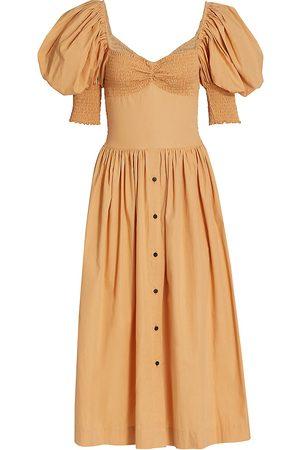 SWF Women's Puff-Sleeve Sweetheart Midi Dress - - Size XS