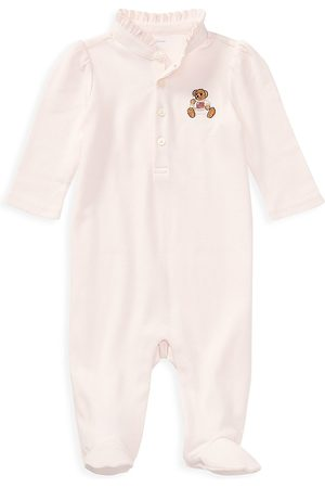 Ralph Lauren Baby Girl's Bear Embroidery Footie - - Size 3 Months