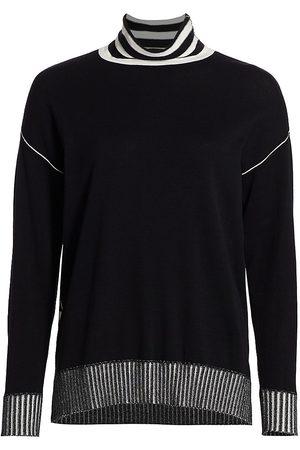 Joan Vass Women's Petite Cotton Turtleneck Sweater - Combo - Size Small