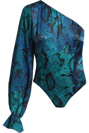 Adriana Iglesias Women's Mara Snakeskin-Print One-Shoulder Bodysuit - - Size 42 (10)